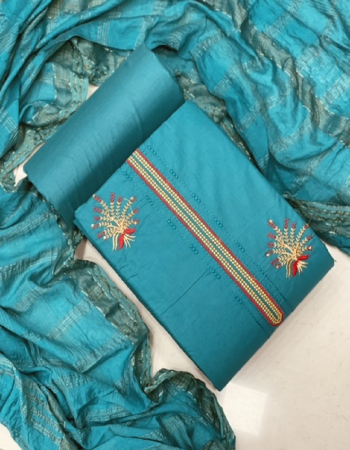 sky blue top - cotton neck work ( 1.90m)| bottom - cotton ( 2.5m) | dupatta - cotton shaded chex dupatta ( 2.10 m)  fabric embroidery work casual