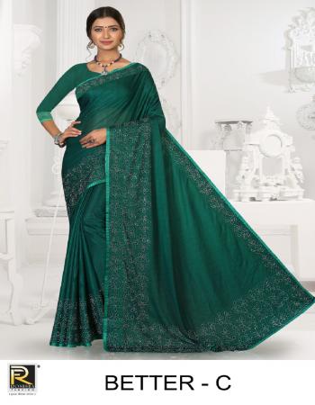 dark green imported lycra  fabric diamond work work casual