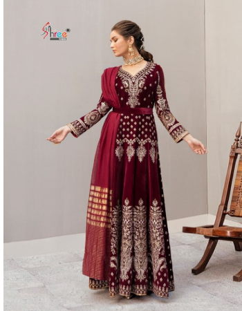 maroon top - pure 9000 velvet with exclusive embroidery | bottom - pashmina | dupatta - 2 des banarasi jecord & embroidery net [ pakistani copy ] fabric embroidery work festive