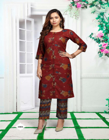 maroon heavy rayon top and pant print fabric printed  work ethnic