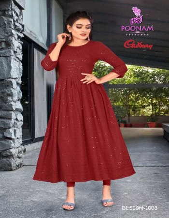 maroon pure rayon lucknowi work | length - 48 fabric lucknowi work work casual