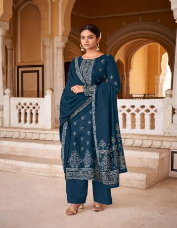 rama blue top - pure pashmina jacquard kani print ( 2.50m) | dupatta - pure pashmina kani print stall excellent premium quality ( 2.50 m) | bottom - spun pashmina ( 3.00m) fabric printed  work casual