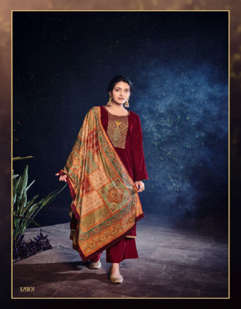 maroon top - pure velvet with embroidery | bottom - pure pashmina | dupatta - velvet digital printed  fabric embroidery work casual