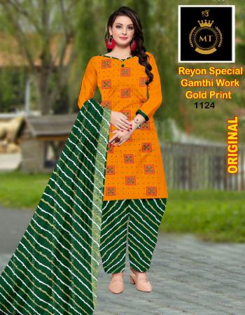 orange top - rayon gold print ( 2.0m) | bottom - rayon print ( 2.30 m) | dupatta - rayon printed ( 2.25m) fabric printed  work casual