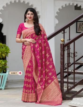 pink banarasi silk fabric jacquard + weaving work party wear