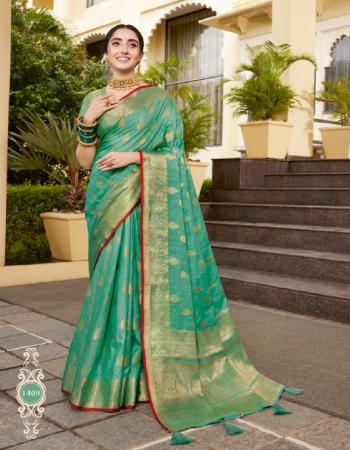 green silk fabric jacuqard + weaving work casual