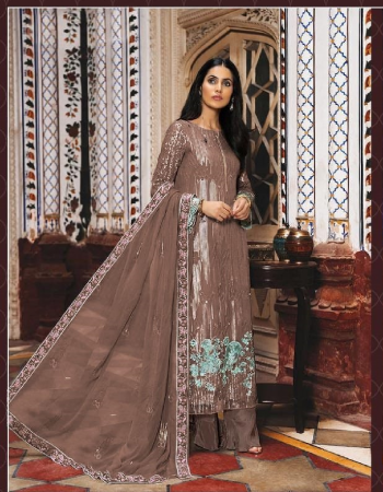 brown top - heavy fox georgette with embroidery work with sequance | bottom - santoon | dupatta - heavy nazneen with embroidery work with sequance with 4 side less | size - max up to 58 | length - max up to 48 [ master copy ] fabric embroidery work casual