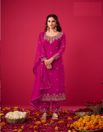 pink faux georgette + embroidery work [ master copy ] fabric embroidery  work festive