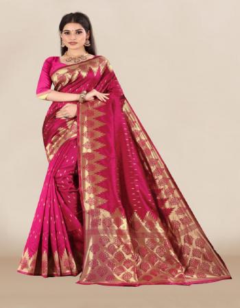 pink banarasi silk fabric jacquard work casual