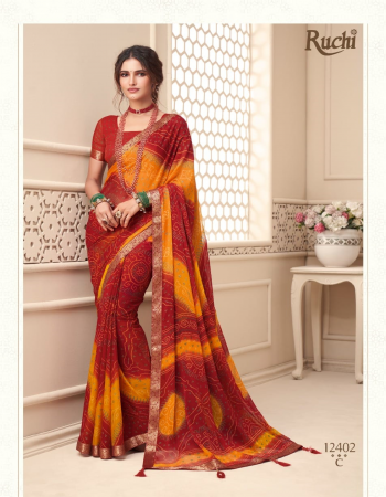 red chiffon with attached banarasi border & tassels  fabric bandhej printed work ethnic