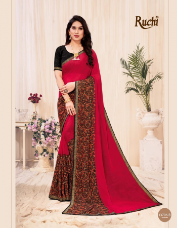 red georgette with attached banarasi border  fabric printed work festive