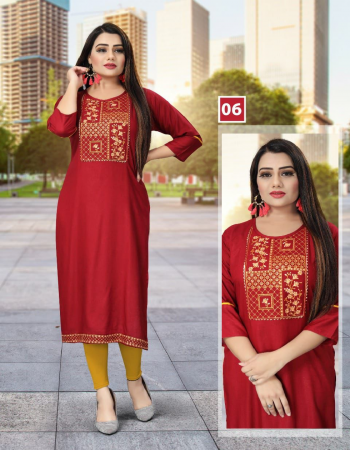 red rayon | length - 44 fabric embroidery work running