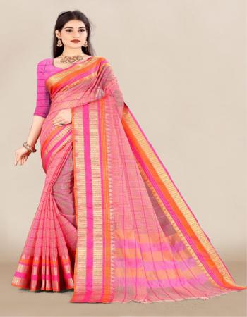 pink saree - doriya cotton | blouse - doriya fabric weaving work casual