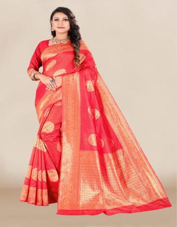 red banarasi silk  fabric jacquard  work casual