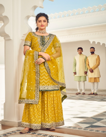 yellow top - faux georgette with embroidery work | inner - dual santoon | dupatta - georgette & net & nazmin with embroidery work | plazo - faux georgette with santoon inner with embroidery & front & back work plazo  fabric embroidery work casual