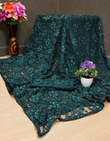 rama green jacqurad fabric stone work + embroidery work casual