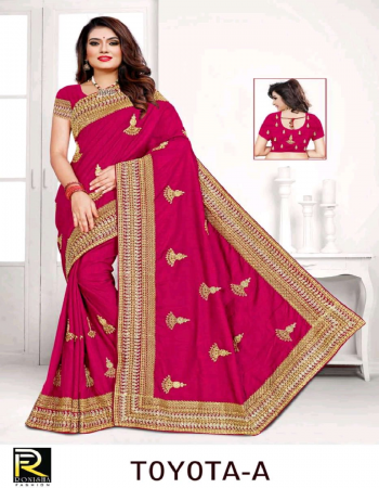 red dola silk fabric embroidery work ethnic