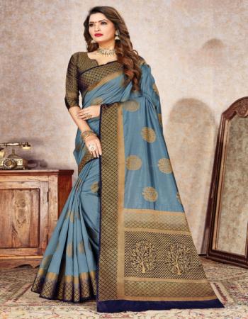rama blue silk fabric jacquard + weaving work casual