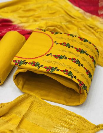 yellow top - cotton multi work ( 1.90 m)| bottom - cotton ( 2.25m) | dupatta - chenderi chex dyable ( 2.10 m) fabric embroidery work festive
