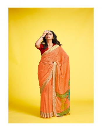 orange georgette fabric printed work casual