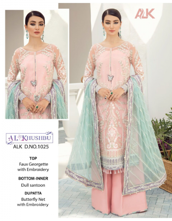 baby pink top - georgette with heavy embroiered | bottom - santoon | dupatta - nazmin with net heavy embroidered | inner - santoon [ pakistani copy ] fabric heavy embroidery work casual