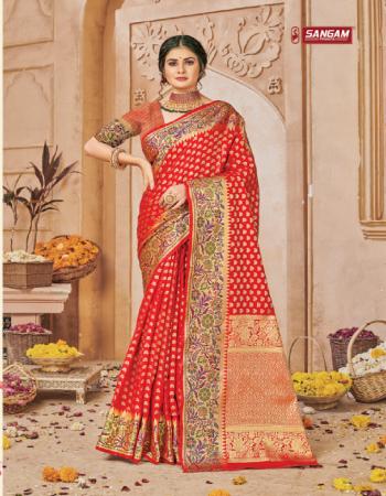 red banarasi silk fabric jacquard + weaving work festive