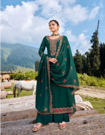 dark green top - pure chinon silk fabric with full body embroidery - neck - sleeves - daman work with full diamond work with dull santun | inner - 2.50 m | bottom - dull santun ( 2.50 m) | dupatta - pure chinon silk with heavy work & lace ( 2.25 m) fabric embroidery work casual