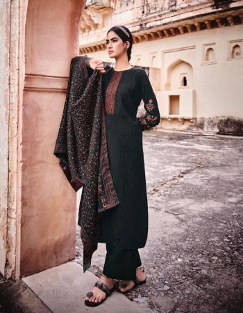 black top - pure pashmina print with designer neck & sleeves embroidery | bottom - pure pashmina | dupatta - pure pashmina shawl digital prints box pallu shwal fabric embroidery work casual