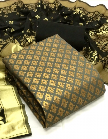 grey top - banarasi silk (2 m) | bottom - heavy silk ( 2 m) | dupatta - jacquard weaving ( 2.30 m) fabric jacquard + weaving work casual