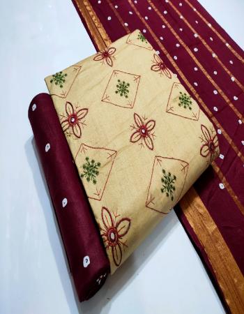 cream top - cotton work ( 2.00 m) | bottom - cotton ( 2.30 m) | dupatta - cotton printed ( 2.25 m) fabric fancy work work casual