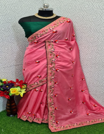 pink mix fabric [ georgette | dhola silk | chiffon ] fabric embroidery work casual