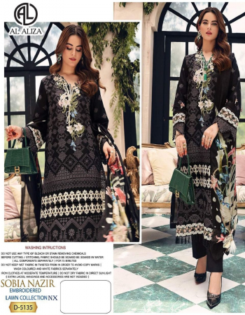 black top - pure cotton embroidered | bottom - semi lawn | dupatta - tubby silk digitaly printed [ pakistani copy ] fabric embroidered  work casual