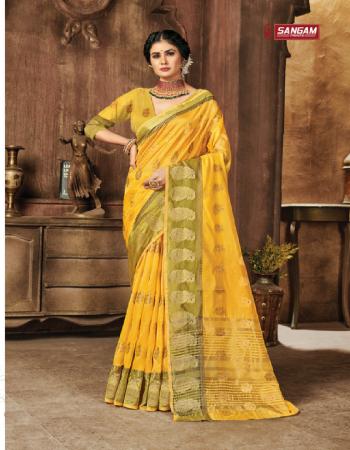 yellow organza  fabric weaving work casual