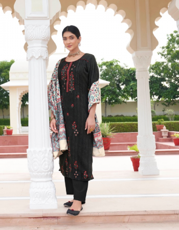 black top - pure 2.40* 20 pashmina with self print and fancy placement embroidery ( 2.50 m) | dupatta - pure bamberg pashmina weaving kani jacquard with four side lase ( 2.50 m) | bottom - european spun ( 3.00 m) fabric embroidery work casual