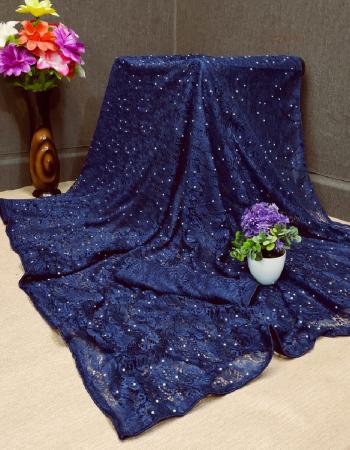 navy blue jacquard  fabric embroidery + stone work work festive