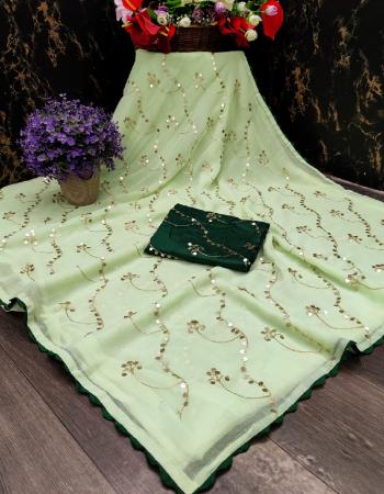 green chiffon fabric fancy work work ethnic