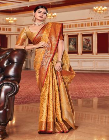 orange silk fabric jacquard + weaving work party wear