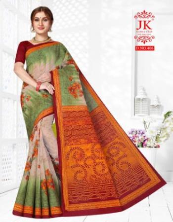 green saree - pure cotton ( 5.50 m ) | blouse - cotton printed ( 0.80 m) fabric printed work festive