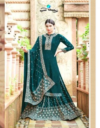 rama blue top - heavy chinon | bottom - heavy chinon | inner - heavy chinon | dupatta - santoon  fabric embroidery  work party wear