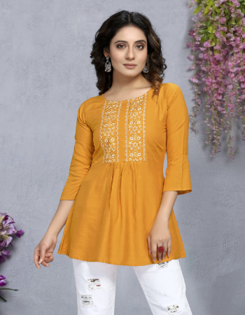 yellow 14 kg rayon | length - up to 30 fabric embroidery work casual