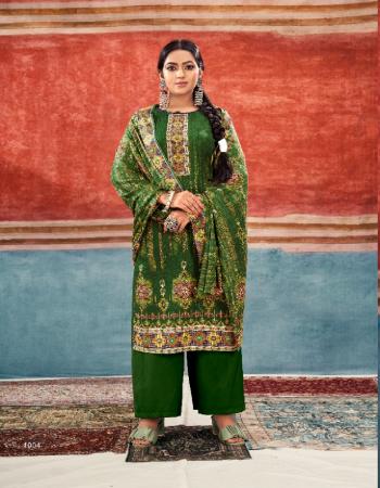 dark green top - pashmina jacquard print with exclusive silvoski diamond work ( 2.50m app ) | bottom - heavy spun ( 2.60m) | dupatta - pashmina shawl printed (2.10m) fabric printed + diamond work work casual