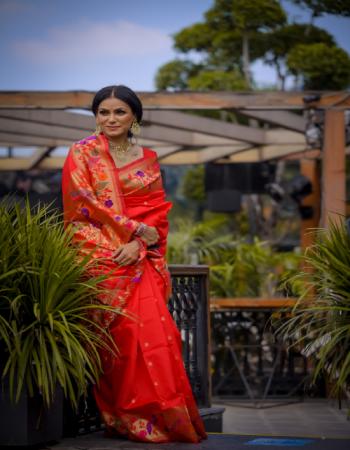 red art silk fabric jacquard + weaving work casual