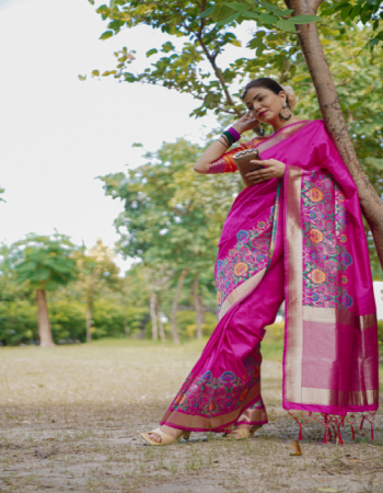 pink silk fabric jacquard + weaving work festive