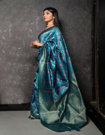 sky blue poly silk fabric jacquard + weaving work festive