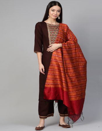 maroon silk fabric printed work casual