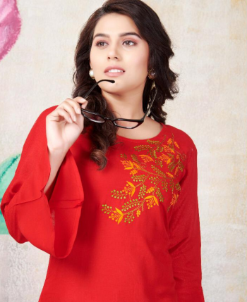 red rayon fabric embroidery work festive