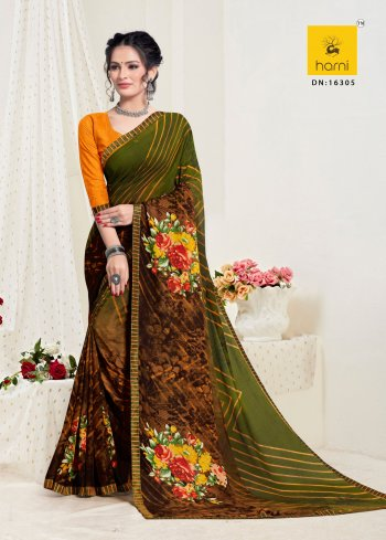 green georgette fabric printed work festive