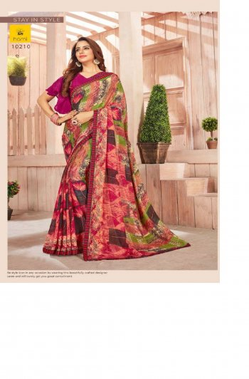 red georgette fabric printed work festive