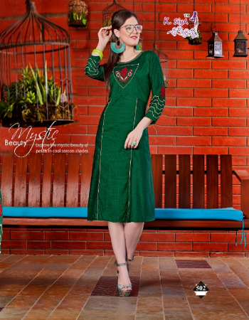 green rayon hand embroidery casual
