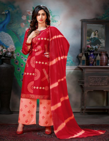 red  rayon fabric printed  work wedding